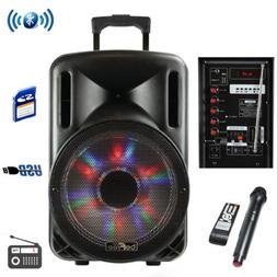 """BEFREE SOUND 12"""" BLUETOOTH PARTY KARAOKE PA DJ SPEAKER w/ LI"""