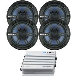 "4 Kicker 6.75"" 600W Black Car Coaxial Speakers,Marine Blueto"