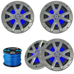 """4 x Searonics SEA65LC 6.5"""" Marine Blue LED Speakers  - 16-Ga"""