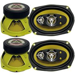 "4) New Pyle PLG69.5 6x9"" 900 Watt 5-Way Car Audio Speakers S"