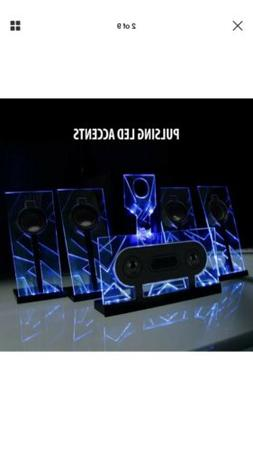 5.1 Surround Sound Computer Speakers with 80 Watts and Blue