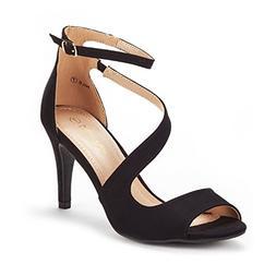 DREAM PAIRS Women's NILE Black Fashion Stilettos Open Toe Pu