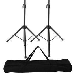 A Pair Of Universal Tripod Audio DJ PA Speaker Stands + Carr
