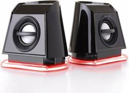 GOgroove BassPULSE 2MX Computer Speakers with Red LED Accent