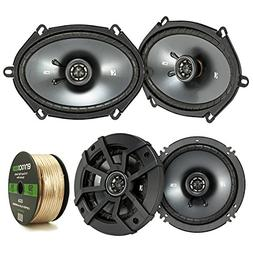 2 Pair Car Speaker Package: 2x Kicker 43CSC684 450-Watt 6x8""