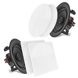 "Pyle 6.5"" 2-Way Midbass Speakers - Pair of In-Wall/In-Ceil"