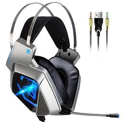 PC Game Headsets for PS4, Ear Cup USB Surround Stereo Wired