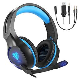 Gaming Headset with Mic, VPRAWLS 3.5mm Wired Over-Ear Bass S