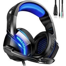 PHOINIKAS USB Gaming Headset for Xbox One, PS4, PC, Gaming H