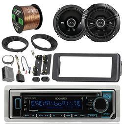 Kenwood KMRD365BT Marine Stereo Receiver Bundle Combo With 2