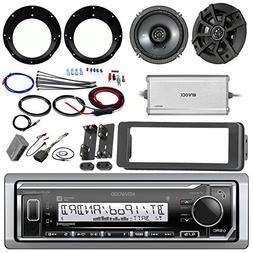 "Kenwood KMR-M315BT Stereo Receiver Bundle W/ 2 Kicker 6.5"" S"