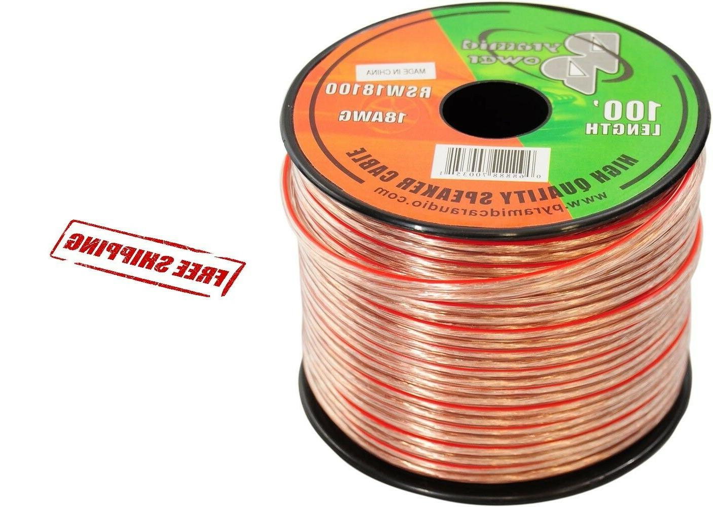 100ft 18 GA Gauge Speaker Wire Audio Car Cable Stereo Amplif