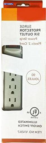 6-Outlet Switchable Surge Protector Power Strip with 2-foot