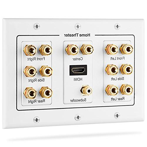 Fosmon HD8006 3-Gang 7 1 Surround Distribution Home Theater Gold Plated  Copper Banana Binding Post Coupler Type Wall Plate for 7 Speakers, 1 RCA  Jack