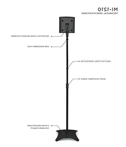 Mount-It! MI-1210 for Home Theater Channel Surround Satellite Speaker Stands Mounts, Rear and Pair, 10 Capacity, Black