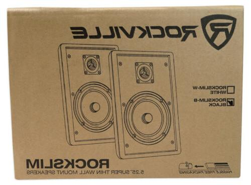 Pair Rockville Front+Rear Surround Sound Shallow On-Wall