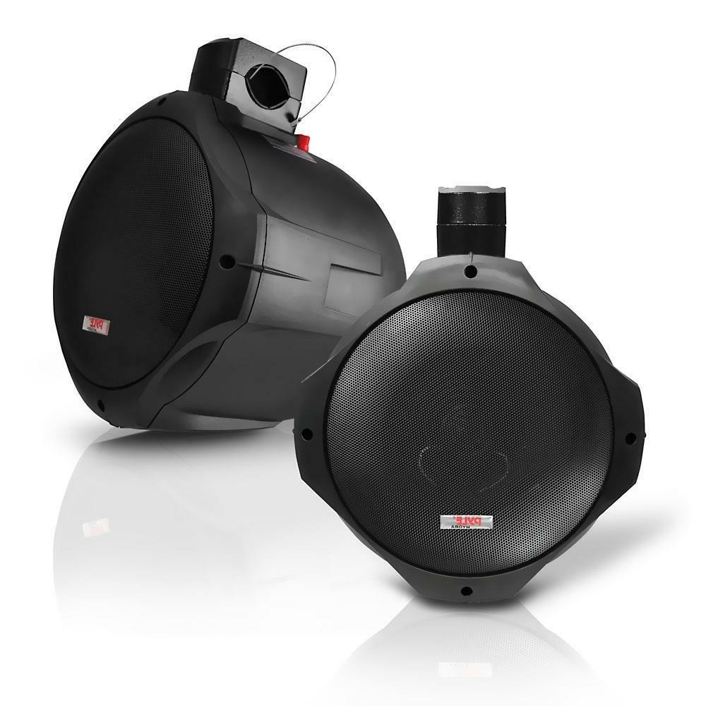 PLMRB65 1 Pair 6.5 Inch Dual Marine Speakers Black Weather Resistant Outdoor Audio Stereo Sound System with 200 Watt Power and Poly Mica Cone and Butyl Rubber Surround Pyle 2 Way IP44 Waterproof