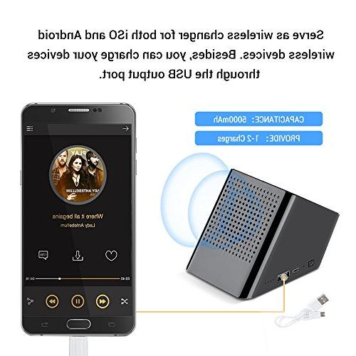 Portable Bluetooth Charger Phone Stand in 1 HD Sound Enhanced Bass Wireless Speaker for Black Bluetooth Yszbiay