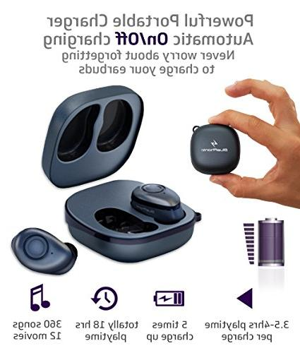 Bluephonic True - Bluetooth Mini Ear 3D Stereo Play Time, SweatProof Earphones Headset, Built in Microphone & for Phone