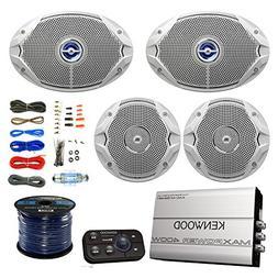 "Marine Speaker And Amp Combo: 2x JBL MS9520 6x9"" 2-Way Coaxi"