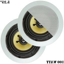 "Pair 5.25"" 2-Way 100 W In-Wall Ceiling Audio Speaker Surroun"