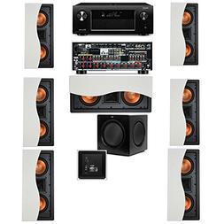 Klipsch R-5502-W II In-Wall Speaker 7.1-SW-310 Denon AVR-X40