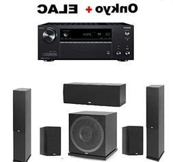 Onkyo TX-NR585 Receiver + Pair of ELAC F6.2 2.0 Floorstandin