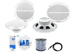 Lanzar Waterproof Bluetooth Marine Receiver Stereo Radio , 2